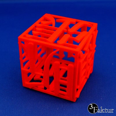 Laser Sintering - PA12 PA2200 - chinese character cube