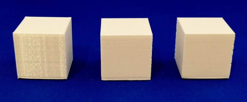 3D printed cubes with different layer heights